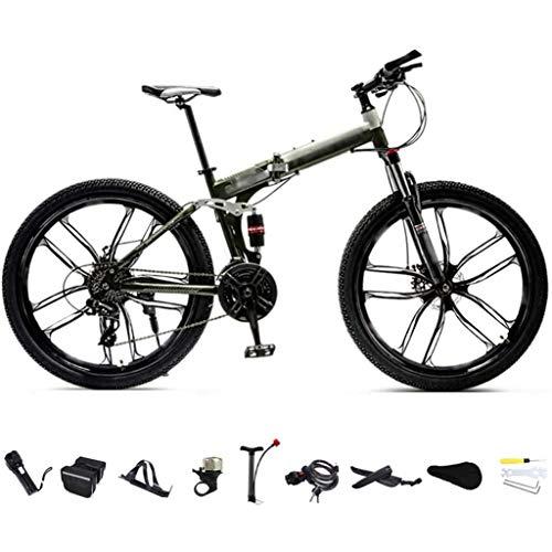 XHLLX 24-Zoll-MTB Fahrrad, Unisex Folding Pendler Fahrrad, 24-Gang-Getriebe Faltbare Mountainbike, Off-Road Variable Speed Bikes Für Männer Und Frauen, Doppelscheibenbremse/A-Rad,A