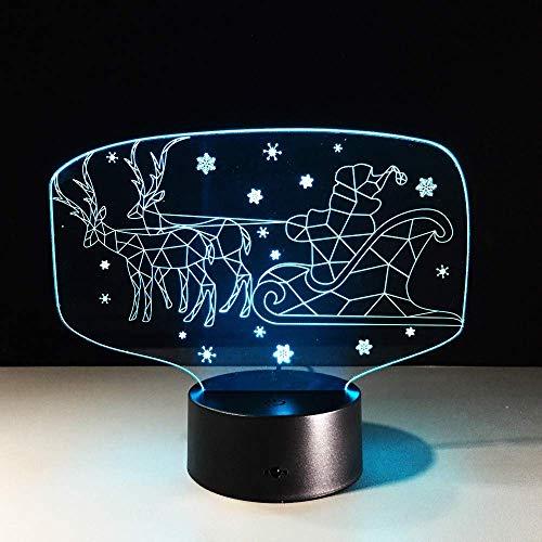 Navidad Ciervos Coche 3D Luz De Noche Led Colorido Remoto 3D Mesa De Escritorio Lámpara De Mesa Sensor De Luz Regalo De Navidad