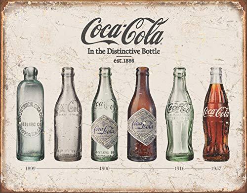 "Desperate Enterprises Coca-Cola Bottle Evolution Tin Sign, 16"" W x 12.5"" H"
