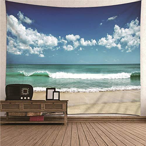 Aimsie Wandteppich, Meer Strand Wandtuch Deko Polyester Wanddeko Party Wandtuch Für Die Wand Blau 260X240Cm