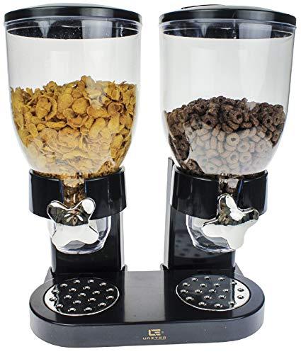 United Entertainment - Distributeurs de Céréales - Cornflakes Dispenser - Noir - Petit-déjeuner - Outils de Cuisine - 33x20x35 cm