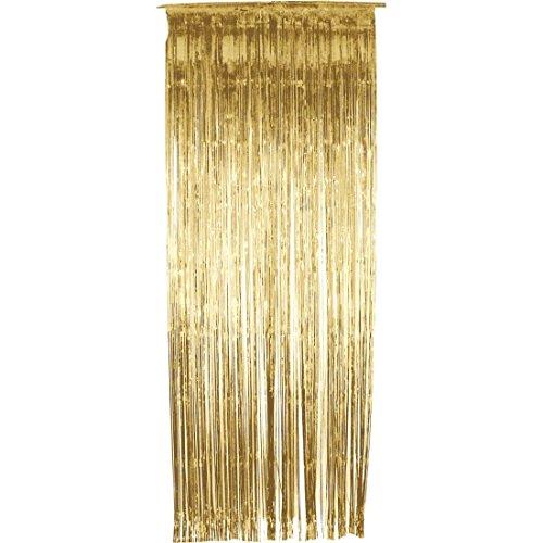 NET TOYS Lametta Vorhang Gold Lamettavorhang Glitzervorhang Dekovorhang Glittervorhang Party Dekoration Deko
