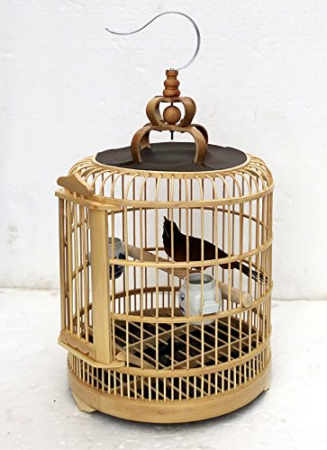 manual Vintage Bamboo Pagoda Style Bird Cage