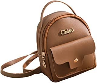 Happy-L Handbags Fashion Girls Leather Student Backpack Miniature Personality Casual Backpack Portable Bag Handbag Shoulder Messenger Bag (Color : Brown, Size : 14 * 17 * 7CM)