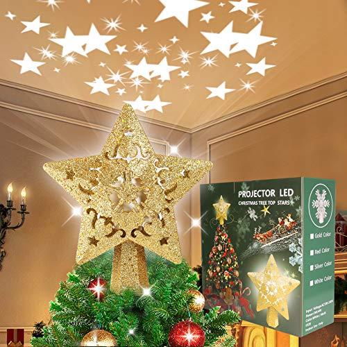 Soulitem Estrella para árbol de Navidad con luces multicolores, decoración para fiestas, 3D Hollow Star Christmas Tree Topper (dorado)
