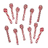 Candy Cane Spoons Hot Chocolate Edible Peppermint Spoon Individually Wrapped - 12 Count - Peppermint Flavored