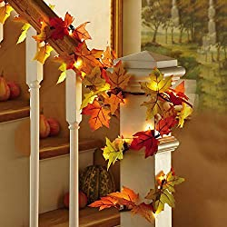 Lighted Autumn Leaf Harvest Fall Leaves Garland Lights String Thanksgiving Decor Halloween String Lights 8.2 Feet 20 LED,Warm White
