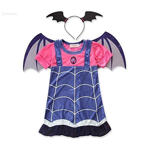 Uteruik disfraz de vampiro con diseño de dibujos animados, vestido de media manga con diadema para cosplay, para fiesta o celebración, 120 cm