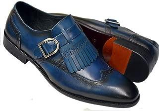 Men's Ocean Blue Genuine Leather Slip-On Wingtip Kiltie Monk Straps Loafer Shoes KS886-24
