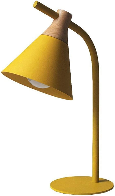 Moderne einfache schreibtischlampe macaron eisen holztischlampen wohnzimmer schlafzimmer studie cafe bar beleuchtung dekorative nachttischlampe (Farbe   Gelb)