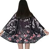 ZooBoo Women Japanese Kimono Cardigan - Harajuku Bathrobe Cardigan Sunscreen Clothes Pajamas Knitting Coat - White/Black (Goldfish)