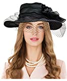 Carnavalife Sombrero de Boda Floral de Encaje para Mujer, Gorro Nupcial para Vestido de Novia, Tocado Negro de Iglesia Derby para Fiesta de Té, Talla única