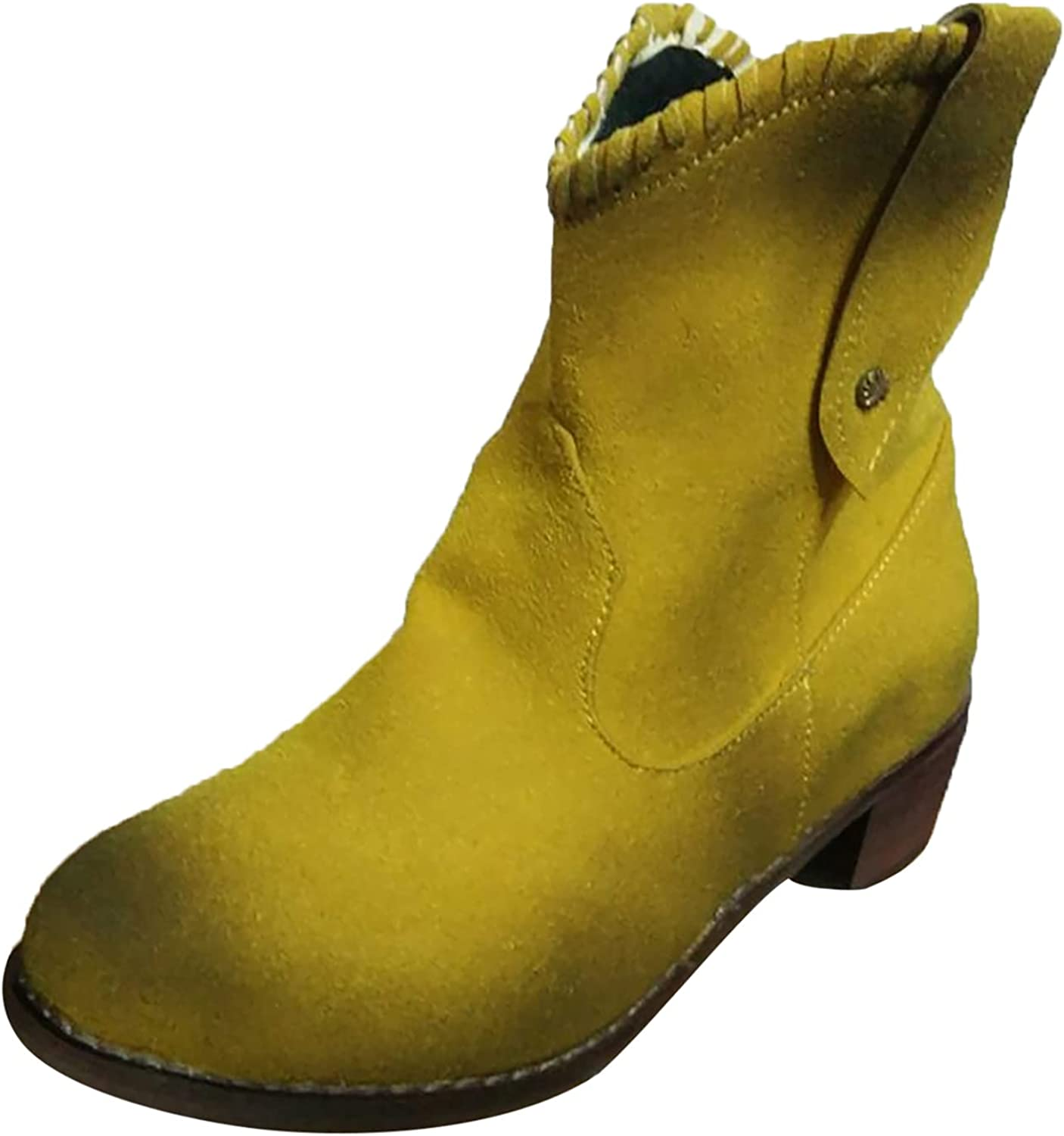 Pzhhzpingg Sale Cowboy Boots for Women Fashion Heel Solid with Retro Award