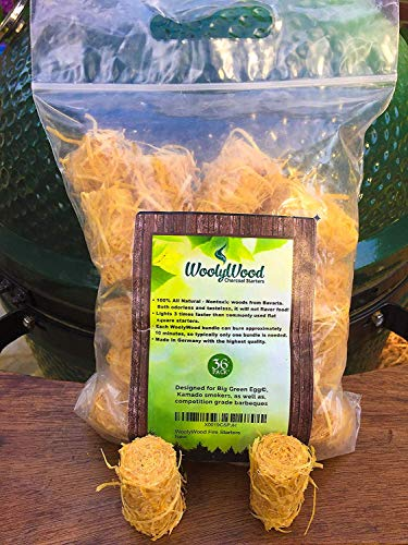 WoolyWood Charcoal Starters for Green Eggs, Kamados and Primo Smokers - Super Fast Lighting, 100% All Natural (36 Count)