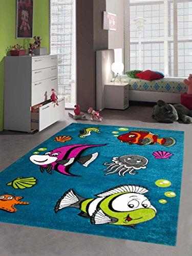 Kinderteppich Spielteppich Kinderzimmerteppich Fische Unterwasserwelt mit Konturenschnitt in Türkis Pink Grün Grau Rot Orange Creme Schwarz, Größe 160x230 cm