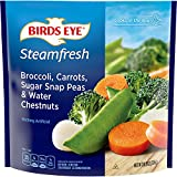 One 10.8 oz bag of Birds Eye Steamfresh Broccoli, Carrots, Sugar Snap Peas & Water Chestnuts Mixed Veggies Bagged vegetables offer quick and easy preparation whenever veggies are needed Vegetable mix includes frozen broccoli and other frozen mixed ve...