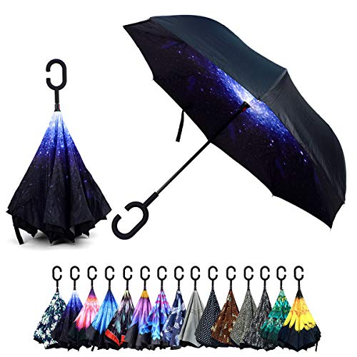 Mustard Double Layer Inverted Umbrellas - C Shaped Handle Reverse Folding Windproof Umbrella for Men and Women