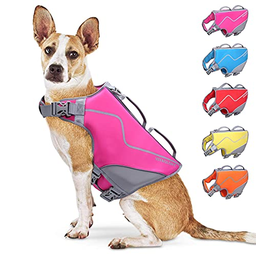 Vivaglory New Neoprene Sports Style Dog Life Jacket, Life Vest for Dogs with Three Adjustable Straps and Side-Release Buckles, Rose, L