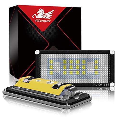 WinPower LED Éclairage plaque immatriculation auto ampoules super brillant CanBus Pas d'erreur 6000K xénon blanc froid 18 SMD Feux arrière pour 2004-2006 E46 2 Portes/M3 facelift, 2 Pièces