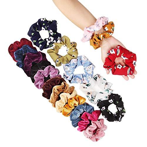 Scrunchies, 20 Stück Haargummis Mädchen Scrunchies Samt Haargummis Chiffon Blume bunt elastisch Haarbänder für Pferdeschwanz Haarband