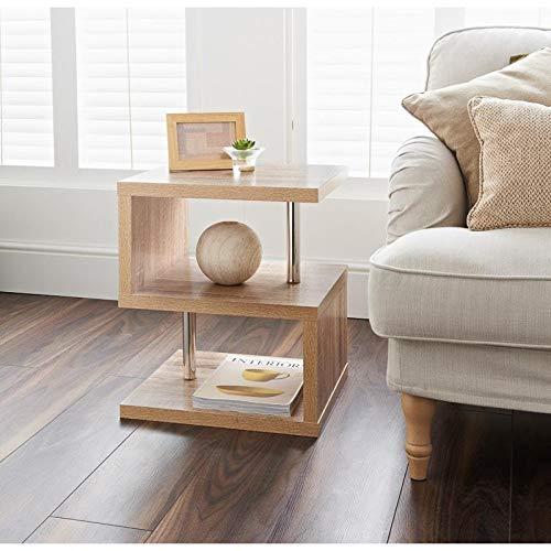 Hampton Oak Finish 2 Tier Side Table Elegant Design -Living Room/Bedroom Furniture