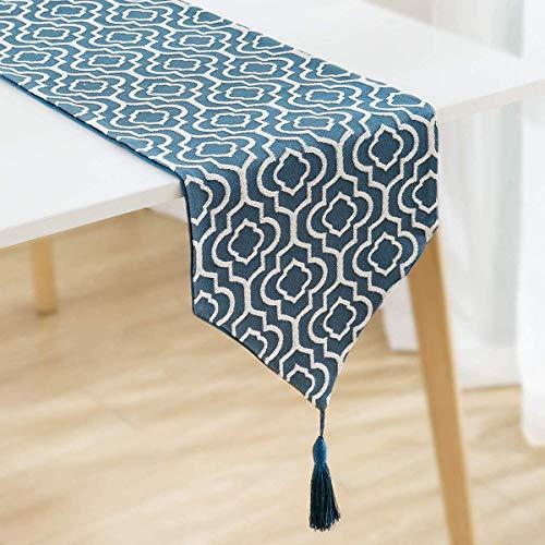 ZYYH Baumwolle Leinen Tischläufer, Moderne geometrische Jacquard Tischläufer mit Quasten, Vintage Marokko Tischwäsche Kommode Schal Bettläufer Holiday Esstisch