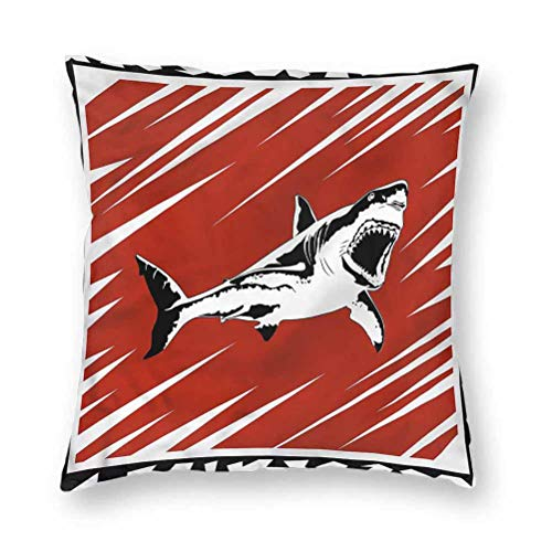 YUAZHOQI Pillow Covers 18' x 18', Shark,Killer Ocean Creature, Square Decorative Pillowcases for Bench Couch Livingroom(1 Pack)