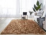 HETOOSHI alfombras mullidas de Interior súper Suaves y mullidas de Terciopelo Linda Alfombra de Dormitorio mullidaAdecuado para salón Dormitorio baño sofá Silla cojín (marrón, 120 x 160 cm)