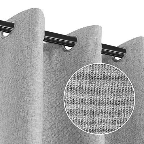RHF Blackout Curtains for Bedroom, Primitive Linen Look, 100% Blackout Curtains Linen Blackout Curtains, Grommet Curtains for Living Room, Burlap Curtains-2 Panels (50x84 Grey)