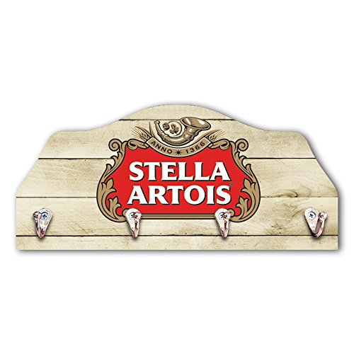 Porta-Chaves Cerveja Stella Artois - 4 Ganchos - em MDF - 29x21 cm