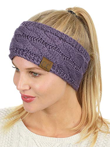C.C Soft Stretch Winter Warm Cable Knit Fuzzy Lined Ear Warmer Headband, Violet