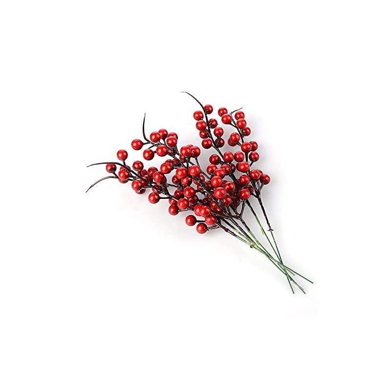 silk flower arrangements ewer artificial red berries, 40pcs simulation berries pine branch for xmas tree pip berry stems artificial berries spray for christmas ornaments fake silk flowers for diy crafts home decor