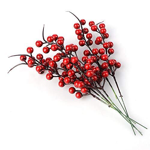 Wyi Künstliche Beeren-Zweige mit roten Beeren und Tannenzapfen, 26 cm, 20 Stück, rot, 10 Stück