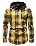 WHATLEES Camisa de franela a cuadros para hombre, con capucha, a cuadros, Aa-amarillo, M