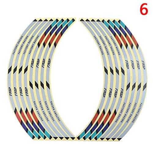 SGYANZLG 1sEst 17'18' Strips Motorcycle Car Wheel Wheel Pegatinas de neumático Reflectante Rim Cinta Motorbike Auto Calcomanías (Color : 6)