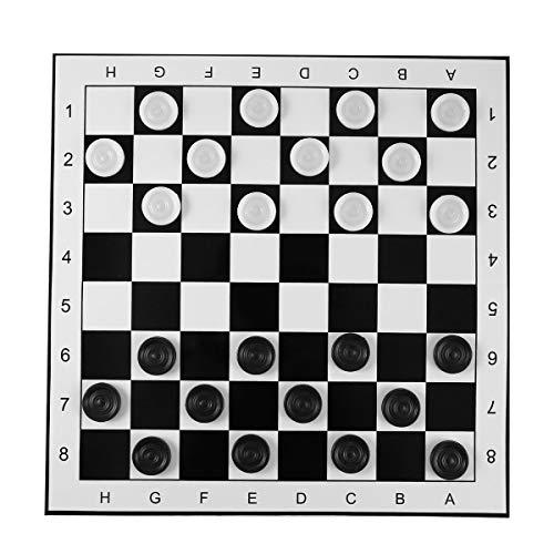 Gugutogo Damas de plástico de Gran tamaño / Borradores Tablero de ajedrez Plegable Juego de ajedrez Internacional Juego de Mesa de Viaje Juguete de Competencia