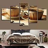 HJIAPO 5 Pezzi Stampa su Tela in Tazza di caffè in Grani Immagini Moderni Murale Fotografia Grafica Decorazione da Parete Astratto 150 * 80Cm