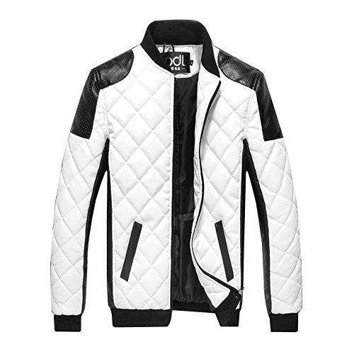 Gladiolus Herren PU Lederjacke Zipper Stehkragen Jacke Kunst-Lederjacke Bikerjacke Weiß M