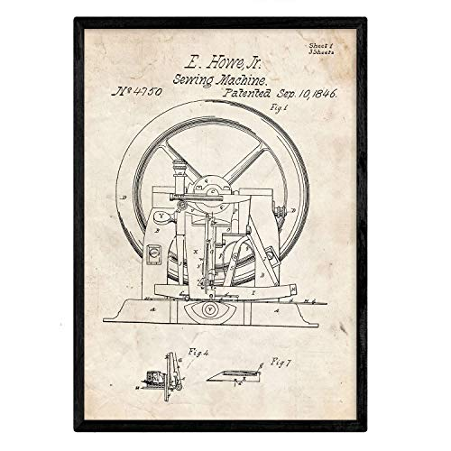 Poster Nacnic Patent naaimachine 2e plaat met oud design patent op A3-formaat en vintage achtergrond