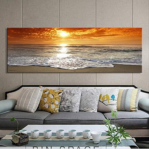 Modern Landschap Posters en Prints Wall Art Canvas Schilderij Zonsopgang Landschap op zee Decoratieve Schilderijen voor Woonkamer Decor 20x60cm Geen Frame