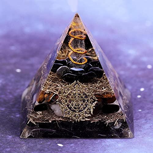 YZYZ Pirámide de obsidiana natural, aura curativa, cristal de metal, chakras, generador de energía del equilibrio, protector de la fuerza motora eléctrica.