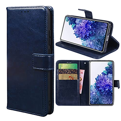 Funda para Nokia C20 Carcasa de Teléfono de Cuero PU Premium Estuche Protector para Billetera con Tapa Magnética, Compatible con Nokia C20, Azul Oscuro