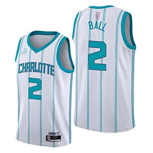 YDYL-LI Camisetas De Baloncesto para Hombres, NBA Charlotte Hornets # 2 Lamelo Ball - Uniformes De Chaleco Transpirable Suelto Uniformes Classic Comfort Camiseta Sin Mangas Tops,Blanco,XL(180~185CM)
