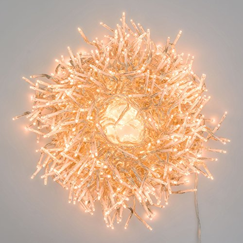 LuminalPark Cluster-Lichterkette 7,5 m, 750 Mini LEDs extra warmweiß, transparentes Kabel, innen
