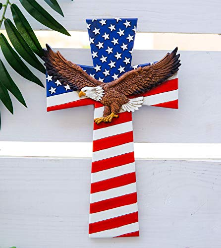 Ebros Gift Western Patriotic USA American Flag With Soaring Bald Eagle Wall Cross Decor Plaque Vintage Design Hanging Sculpture 12.75'H Decorative Majestic Wings Of Glory Eagles Flags Crosses