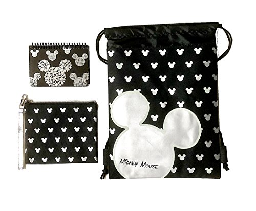 Disney Mickey Mouse Glow in the Dark Drawstring Backpack Plus Autograph Book with Purse - Set of 3 Silver (Star Head)