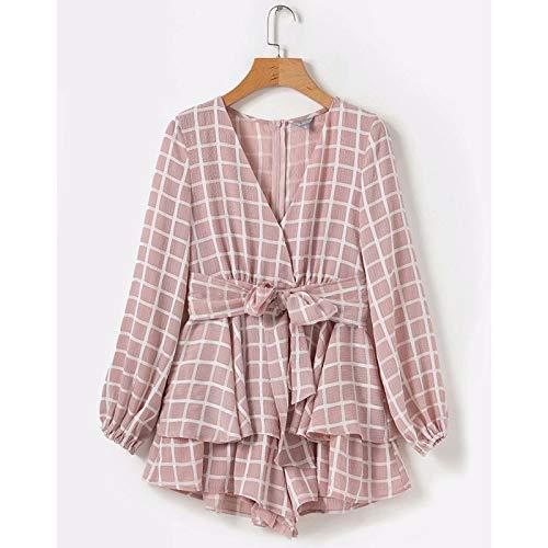 Mode Women's jurk met lange mouwen, Dames V-hals jurk, jurk met lange mouwen, Spring Summer Dress,Pink,L
