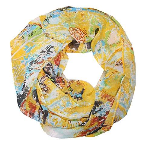 MANUMAR Loop-Schal für Damen | Hals-Tuch in gelb bunt mit Kunst Motiv als perfektes Herbst Winter Accessoire | Schlauchschal | Damen-Schal | Rundschal | Geschenkidee für Frauen und Mädchen