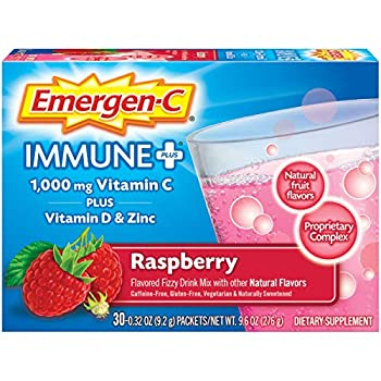 Emergen-C Immune+ 1000mg Vitamin C Powder with Vitamin D Zinc Antioxidants and Electrolytes for Immunity Immune Support Dietary Supplement Raspberry Flavor - 30 Count/1 Month Supply