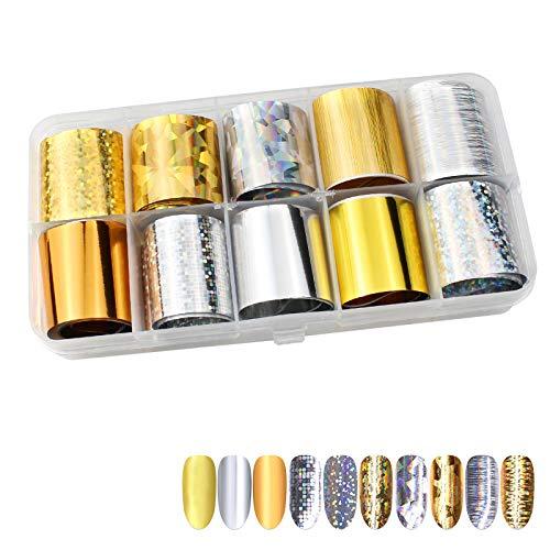 Hrroes Foil Per Unghie 10 Rotoli di Adesivi per Unghie Stickers Decorazioni Unghie per Nail Art, 10 Colori (Riflessione Laser)